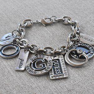 Guess Silvertone Logo Charm Bracelet